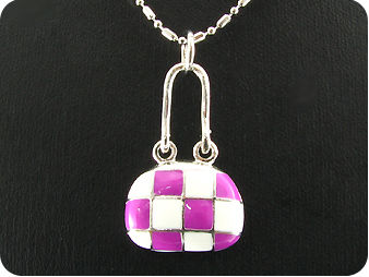 Purple and White  Porcelain Pendant
