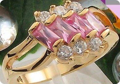 4x5mm Pink Sapphire  Gold Ring