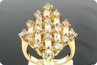 9 x 4mm White Simulated Diamonds  Gold Ring