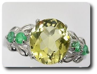 Yellow Scapolite + Green Emerald Ring