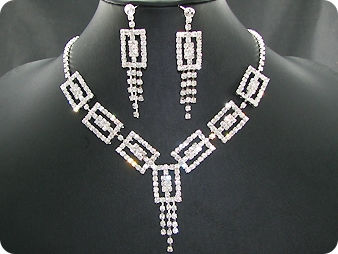 120 x 3mm White Simulated Diamonds Necklace Earrings Set