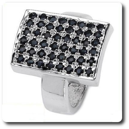 Natural Black Sapphire Ring Silver 925