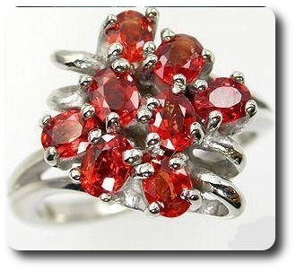 Natural Orange  Red Sapphire Ring Silver 925