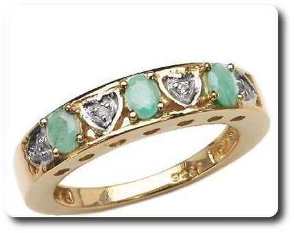 Green Emerald + White Topaz Ring Silver 925 + 18 K Yellow Gold Plating