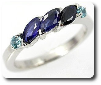 Natural Blue Sapphire + Blue Zircon Ring Silver 925