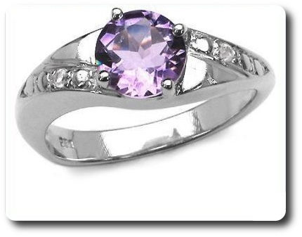 Natural Purple Amethyst + White Topaz Ring Silver 925