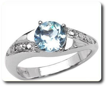 Natural Blue Topaze  Ring Silver 925