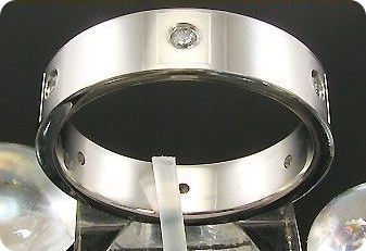 Stainless Steel Round Brilliant Cut Metal Created Diamond Ring