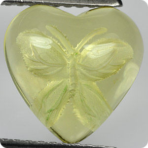 3.04Ct.Butterfly Carved In Yellow Quartz