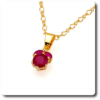 7mm Red Ruby Pendant