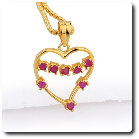 8x2mm Red Ruby Pendant