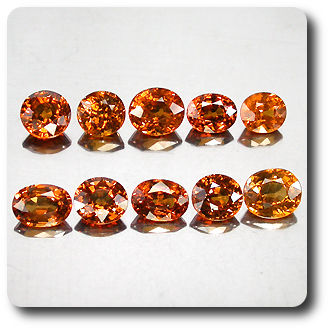 6.37 cts LOT DE 10 GRENAT SPESSARTITE . IF-VVS