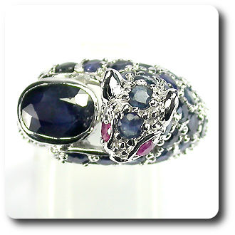 SAPPHIRE & RUBY  TIGER RING