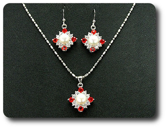 Pendant Necklace Sterling Silver Freshwater White Pearl and Simulated Red Ruby