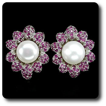 RUBY & PEARL EARRINGS