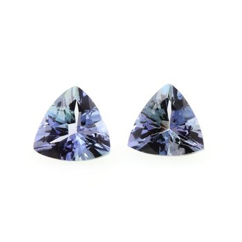 0.81 cts LOT DE 2 TANZANITE BLEU . VVS