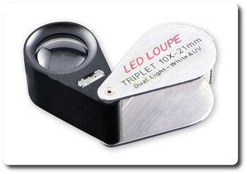 10X TRIPLET Gem LOUPE + LED & UV LIGHT