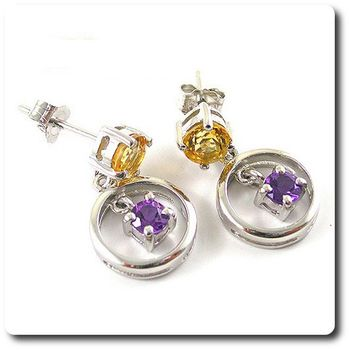 CITRINE AMETHYST  EARRINGS