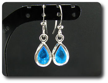 2x7mm Blue Topaz Earrings