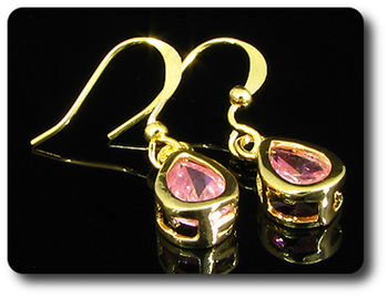 2x8mm Pink Sapphire Earrings