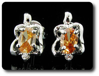2x7mm Orange Sapphire Earrings