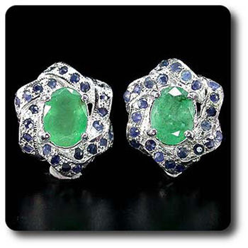 EMERALD & SAPPHIRE EARRINGS