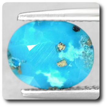2.15 cts  TURQUOISE BLEU + PYRITE