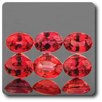 0.24 CT.  ORANGE RED SAPPHIRE . 4 x 3 MM. IF - VVS1 ( 1 piece )