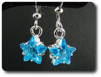 2x8mm Blue Topaz Earrings