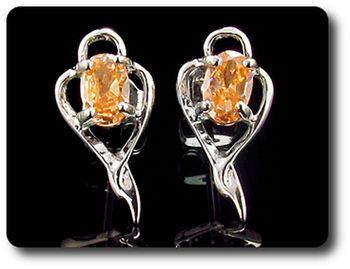 2x7 mm Orange Sapphire  Earrings