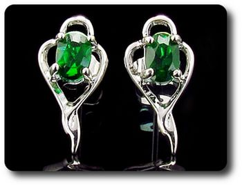 2x7 mm Simulated Green Emerald  Earrings