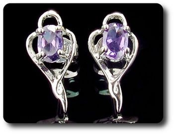 2x7 mm Simulated Purple Amethyst Earrings