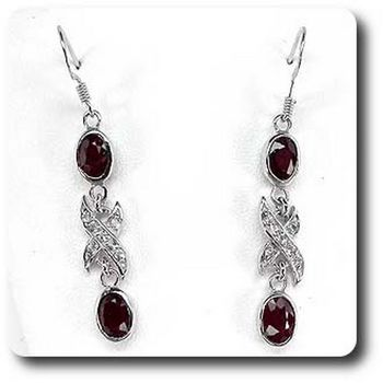 RUBY & WHITE TOPAZ EARRINGS
