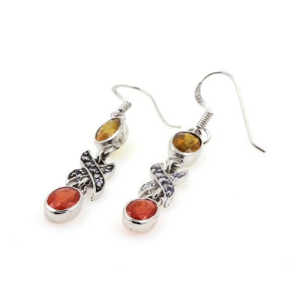 BOUCLES D'OREILLE SAPHIR ORANGE  JAUNE & TANZANITE
