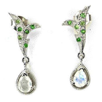 Moonstone and Tsavorite garnet EARRINGS