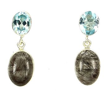 Rutile quartz and Blue topaz EARRINGS