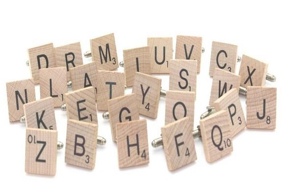 Cufflinks Letter of wooden Scrabble (sold individually)