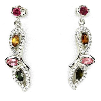 Boucles d'oreille Tourmaline multicolore