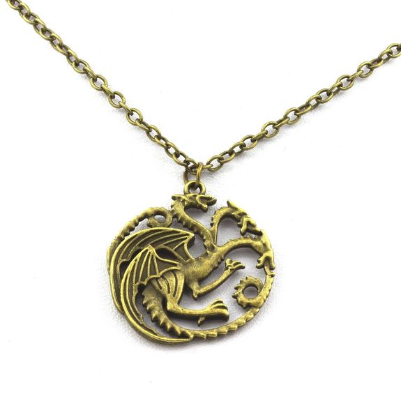 Pendentif Collier Game Of Thrones Targaryen Sigil Dragon. Couleur bronze