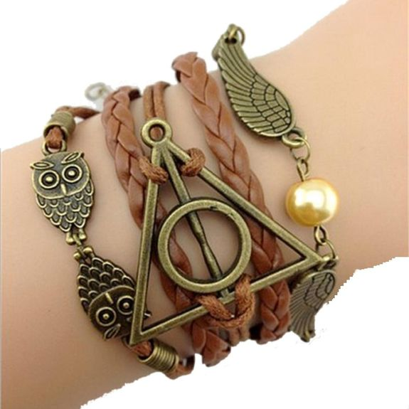 Bracelet Harry Potter infini hiboux ailes d'ange Deathly Hollows infinity