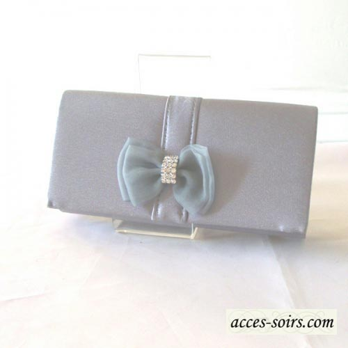 Mini evening clutch with bowtie and rhinestone - 7 colours