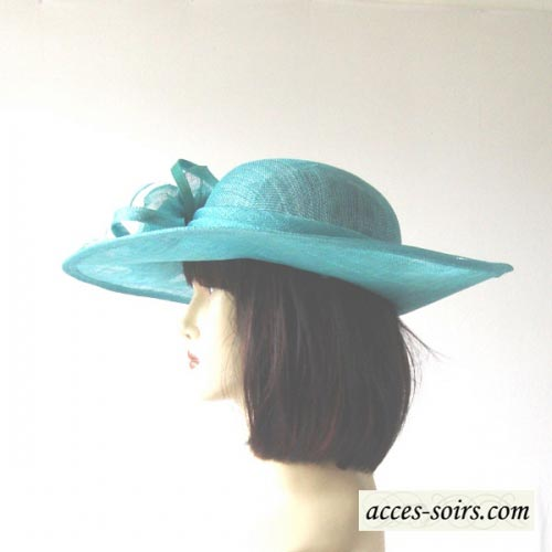Wedding asymetrical turquoise hat