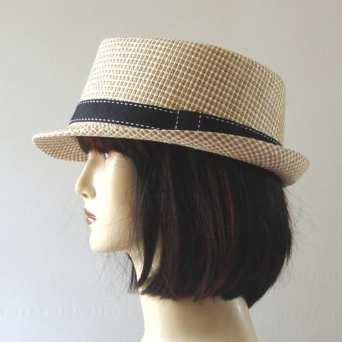 Beige or brown trilby hat