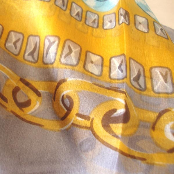 Long pure silk saffron yellow scarf