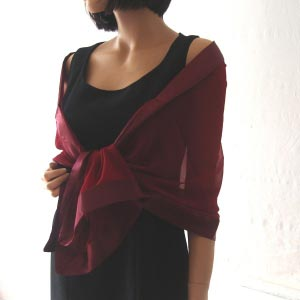 Burgundy stole/shawl silk and satin