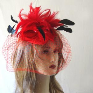 Skullcap with feathers and veil - Black out of stock - 3 colours