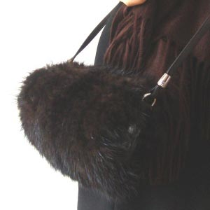 Brown mink muff