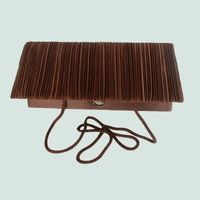 Long pleated chocolate evening bag