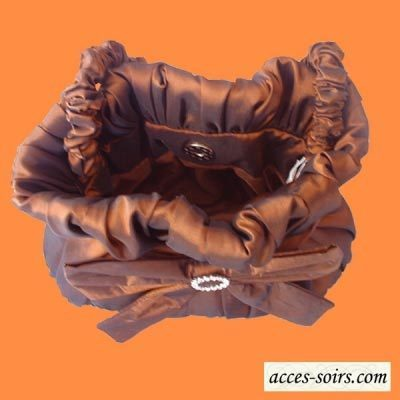 Lovely taffetas chocolate brown evening bag