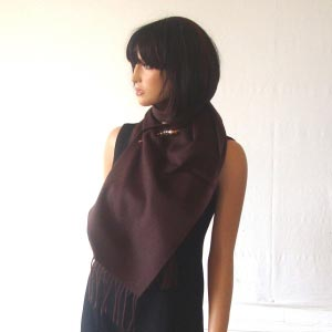 100 % cashmere dark brown scarf